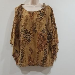 Tsw sports women's leopard animal print blouse